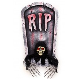 Grafsteen RIP met uithangend skelet