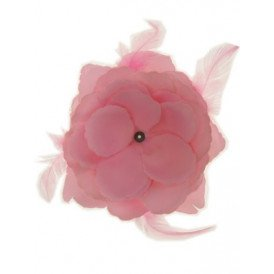 Bloemendecoratie veren baby roze 10x10cm