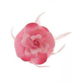 Bloem+glitters speld en elastiek roze