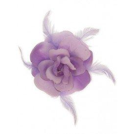 Bloem+glitters speld en elastiek lila
