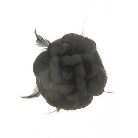 Bloem+glitters speld en elastiek zwart
