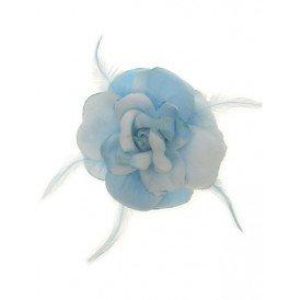 Bloem+glitters speld en elastiek licht blauw