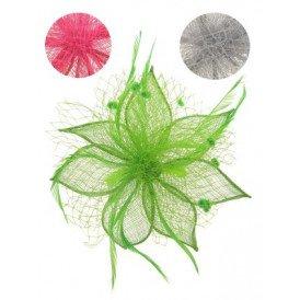 Haardeco bloem ster pink/groen/zilver