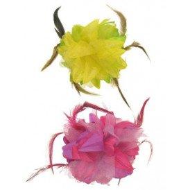 Bloemen haarklem roze/paars + geel/