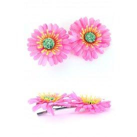 Haarclip met 2 Gerbera's roze