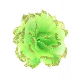 Bloem + glitter en ijzerdraad groen