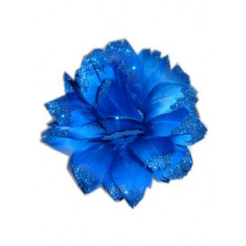 Bloem + glitter en ijzerdraad blauw