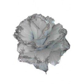 Bloem + glitter en ijzerdraad zilver