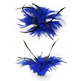 Bloem blauw/wit met veertjes op clip/speld