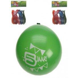 Leeftijdballon 5 jaar per 8 32cm/11inch