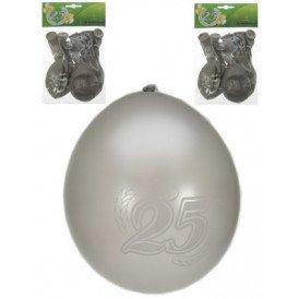 Jubileumballon 25 jaar metalic zilver per 8 32cm/11inch