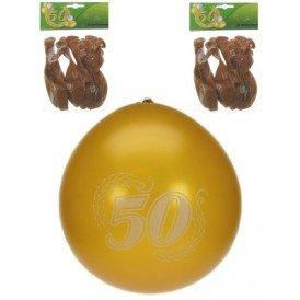 Jubileumballon 50 jaar metalic goud per 8 32 cm/11inch