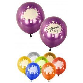 Ballonnen per 8 assortie kleuren met tekstwolk 12 inch metallic