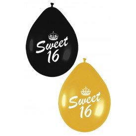 Ballonnen per 6 SWEET SIXTEEN zwart goud