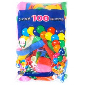 Ballon helium 100 x assortie mt 12