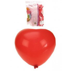 Hart ballon helium 100 x rood 30cm