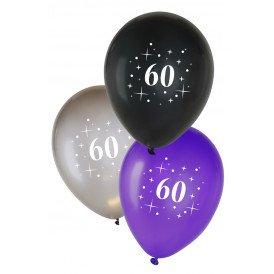 Leeftijdballon 60  per 6 metallic  zwart zilver paars 12 inch