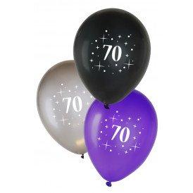 Leeftijdballon 70  per 6 metallic  zwart zilver paars 12 inch