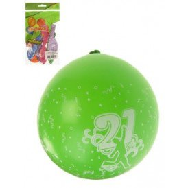 Ballon x 8 cijfer 21 full printed mt 12