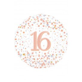 Folie-ballon 18 inch 45.7 cm 16th Sparkling Fizz Birthday White & Rose Gold Holographic