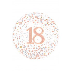 Folie-ballon 18 inch 45.7 cm 18th Sparkling Fizz Birthday White & Rose Gold Holographic