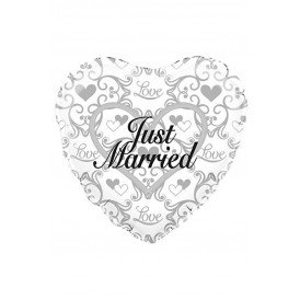 Folie-ballon 18 inch  hart JUST MARRIED