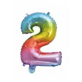 "Folie ballon 16  / 41 cm Rainbow Cijfer 2"""