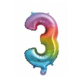 "Folie ballon 16  / 41 cm Rainbow Cijfer 3"""