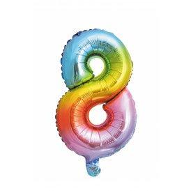 "Folie ballon 16  / 41 cm Rainbow Cijfer 8"""