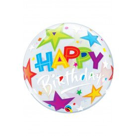 Single BUBBLE balloon 22 inch Happy