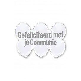 Kroonschild zilver wit Gefeliciteerd met je communie