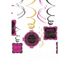 Swirl Decoration 12x Happy Birthday