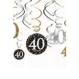 Swirl Decoration  Happy Birthday 40