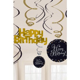 Hangdecoratie swirl decoration Happy Birthday