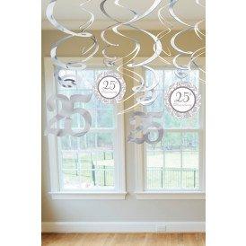 Swirl Decoration 12x Silver 25 Anniversary