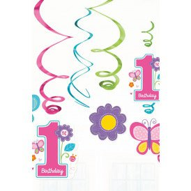 Swirl Decoration 12 x Sweet birthday 1 Girl