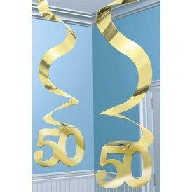 Swirl decoration 5 x goud 50 Anniversary 61 cm