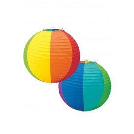 Lantaarn regenboog papier 24 cm. per 3 stuks