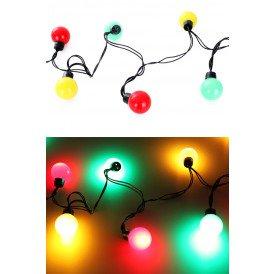 Verlichtingssnoer 20 lamps dia 4 cm, rood/geel/groen 5 m