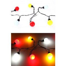 Verlichtingssnoer 20 lamps dia 4 cm, rood/wit/geel 5 m