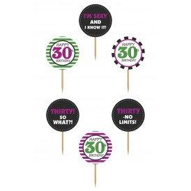 Cupcake toppers 30 jaar 6 stuks 9,2