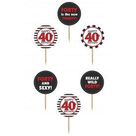 Cupcake toppers 40 jaar 6 stuks 9,2