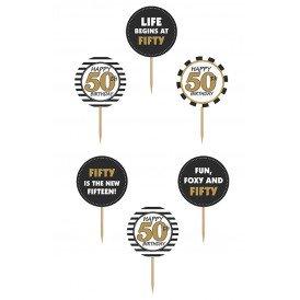 Cupcake toppers 50 jaar 6 stuks 9,2