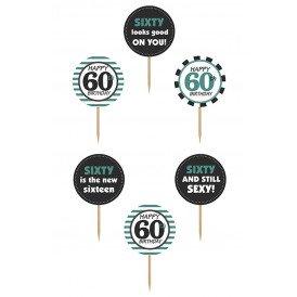 Cupcake toppers 60 jaar 6 stuks 9,2