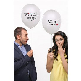 Ballonnen wit Will you marry me? Yes