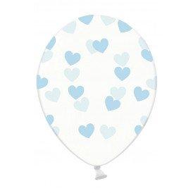 Ballonnen doorzichtig met hartjes licht blauw