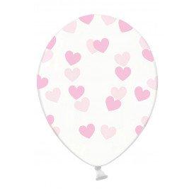 Ballonnen doorzichtig met hartjes licht roze