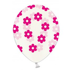 Ballonnen doorzichtig met bloemen pink 30 cm. per 6
