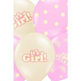 Ballonnen mix pastel wit/roze It's a Girl 30 cm. per 6