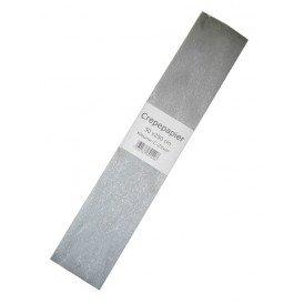 Crepe papier zilver 250 x 50 cm.